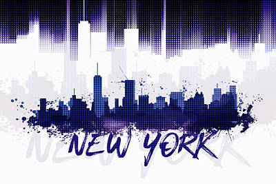 Ny.nyc.abstract Digital Art - Graphic Art Nyc Skyline II - Purple by Melanie Viola