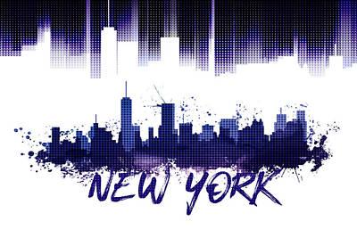 Ny.nyc.abstract Digital Art - Graphic Art Nyc Skyline Purple by Melanie Viola