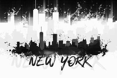 Ny.nyc.abstract Digital Art - Graphic Art Nyc Skyline Splashes II - Black by Melanie Viola