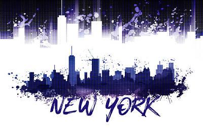 Ny.nyc.abstract Digital Art - Graphic Art Nyc Skyline Splashes - Purple by Melanie Viola