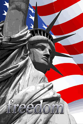 Iconic Painting - Graphic Statue Of Liberty With American Flag Text Freedom by Elaine Plesser