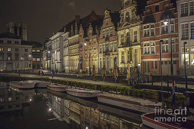 Graslei In Ghent At Night Print by Patricia Hofmeester