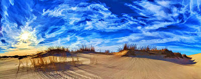 Digitally Manipulated Photograph - Grassy Dunes At Sandhills Sp by ABeautifulSky Photography