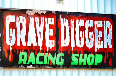 Toy Shop Painting - Grave Digger Racing Shop by Lanjee Chee
