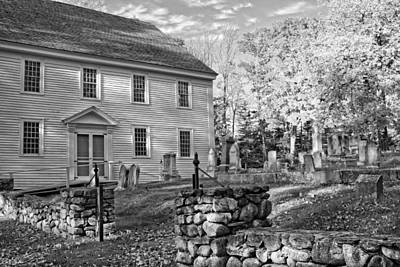 Graveyard Old Country Church Black And White Photo Print by Keith Webber Jr