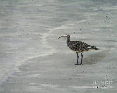Sandpiper Painting - Gray Day by JoAnn Wheeler