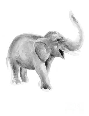 Gray Elephant Watercolor Painting Print by Joanna Szmerdt