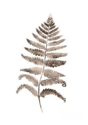 Gray Fern Watercolor Art Print Painting Print by Joanna Szmerdt