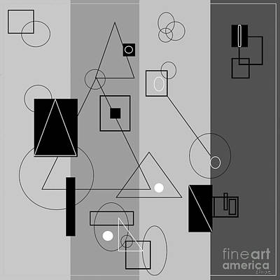 Lines Painting - Gray Geometry 3 by Eloise Schneider