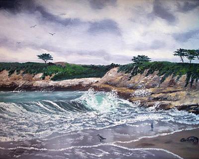 Gull Seagull Painting - Gray Morning At Santa Cruz by Laura Iverson