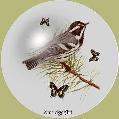 Warbler Digital Art - Gray Warbler by Madeline  Allen - SmudgeArt