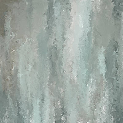 Grayish Blue Abstract Art Print by Lourry Legarde
