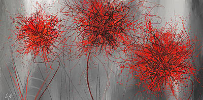 Modern Abstract Painting - Grayish Vibrant Blooms- Red And Gray Modern Art by Lourry Legarde