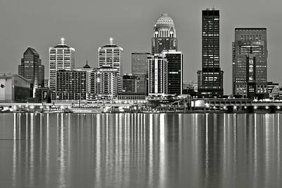 Southern Indiana Photograph - Grayscale Louisville Lights by Frozen in Time Fine Art Photography