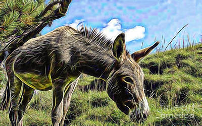 Donkey Mixed Media - Grazing by Marvin Blaine