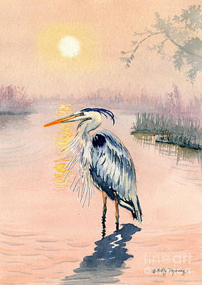 Great Blue Heron Painting - Great Blue Heron At Sunset by Melly Terpening