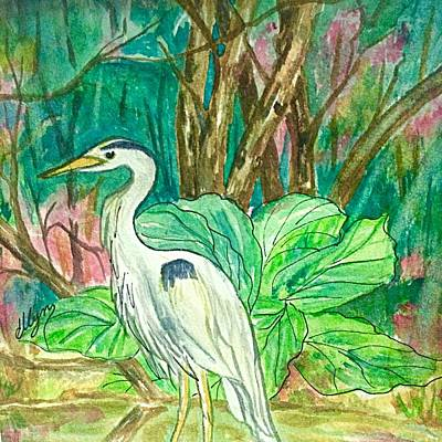 Watercolor With Pen Painting - Great Blue Heron Backyard Visitor  by Ellen Levinson
