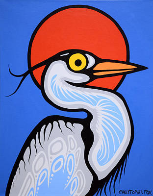Lake Superior Art Gallery Painting - Great Blue Heron by Christopher Fox
