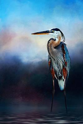 Great Blue Heron Original by Sandy Oman