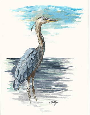 Egret Drawing - Great Blue by Kathleen Kelly Thompson
