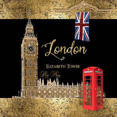 Great Cities London - Big Ben British Phone Booth Print by Audrey Jeanne Roberts
