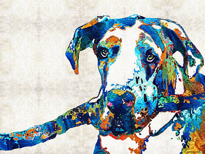 Great Dane Art - Stick With Me - By Sharon Cummings Print by Sharon Cummings