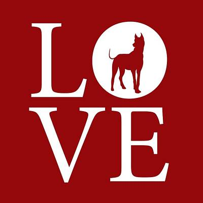 Great Dane Digital Art - Great Dane Love Red by Nancy Ingersoll