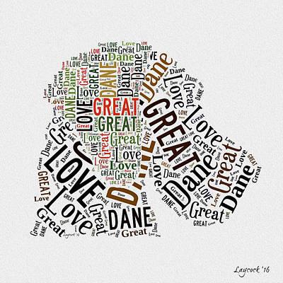 Great Dane Digital Art - Great Dane - Natural Ear - Word Cloud by Jodi Laycock