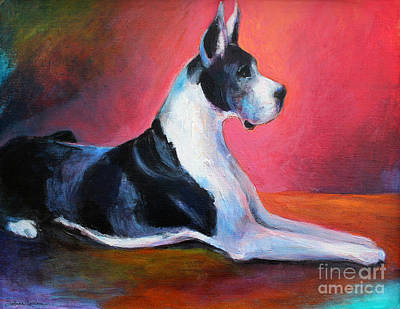 Great Dane Painting Svetlana Novikova Print by Svetlana Novikova