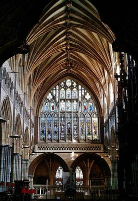 Devon Photograph - Great East Window Exeter Cathedral by Richard Brookes