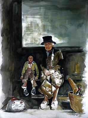 Wine Bottle Painting - Great Grandma And Me by Harvie Brown