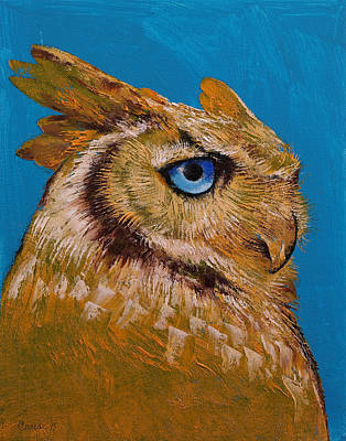 Black And White Birds Painting - Great Horned Owl by Michael Creese