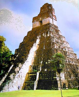 Great Jaguar Temple Of Tikal Print by Mark Cheney