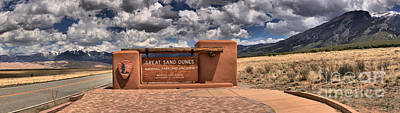 Great Sand Dunes Welcome Sign Panorama Print by Adam Jewell
