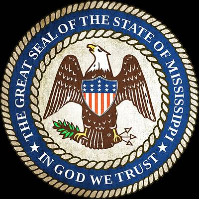 Hallmark Photograph - Great Seal Of The State Of Mississippi by Mountain Dreams