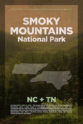 National Parks Mixed Media - Great Smoky Mountains National Park Travel Poster Series Of National Parks Number 27 by Design Turnpike