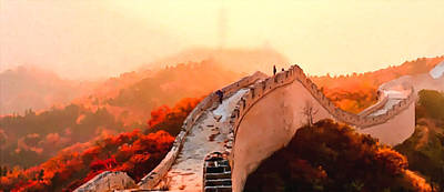 Red Painting - Great Wall In Autumn by Lanjee Chee