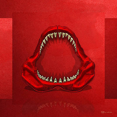 Great White Shark - Red Jaws With Gold Teeth On Red Canvas Print by Serge Averbukh