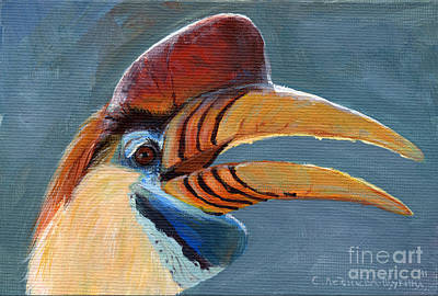 Hornbill Painting - Greater Sulawesi Hornbill by Svetlana Ledneva-Schukina
