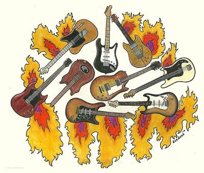 Jimmy Page Drawing - Greatest Guitars by Steve Weber
