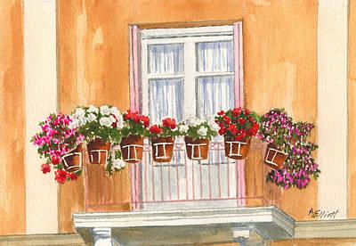 Grecian Balcony Print by Marsha Elliott