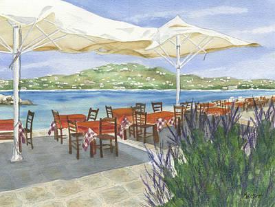 Grecian Seaside Cafe Print by Marsha Elliott