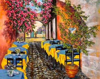 Rhodes Painting - Greece-a Sidewalk Vista  by Jan Law