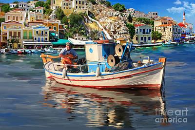 Greece Fisherman Print by Tim Gilliland