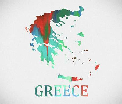 Greece Watercolor Map Print by Dan Sproul
