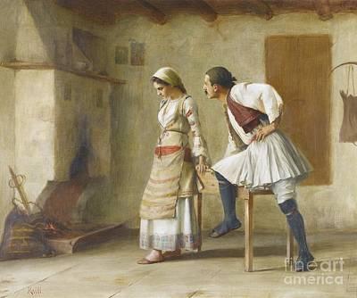 Flirtation Painting - Greek Flirtation by Theodoros Ralli