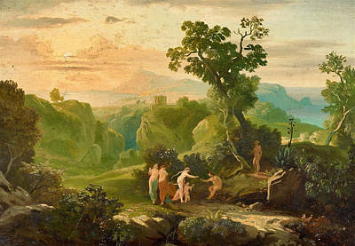 Painting - Greek Landscape With The Judgement Of Paris by Heinrich Gaertner