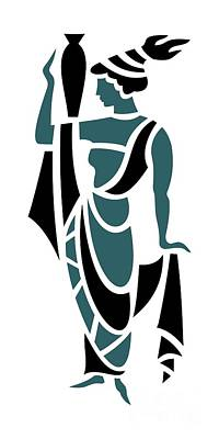 Greek Woman Holding Urn In Teal Print by Donna Mibus