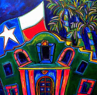 Flags Painting - Green Alamo by Patti Schermerhorn
