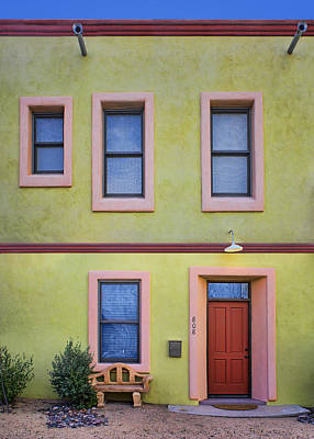 Window Bench Photograph - Green And Pink - Barrio Historico - Tucson by Nikolyn McDonald